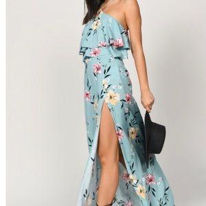 Tobi Blue Floral Halter Maxi Dress